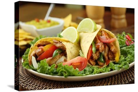 Chicken Fajita  with Guacamole and Tortillas - Dish of Mexico-FBB-Stretched Canvas Print