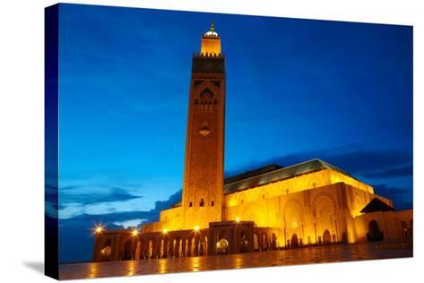 Hassan II Mosque in Casablanca, Morocco Africa-silver-john-Stretched Canvas Print