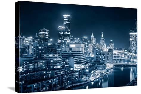 The Beautiful City of Melbourne at Night-kwest19-Stretched Canvas Print