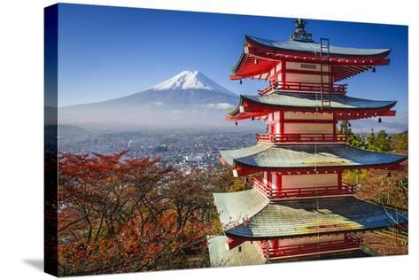 Mt. Fuji and Pagoda during the Fall Season in Japan.-SeanPavonePhoto-Stretched Canvas Print