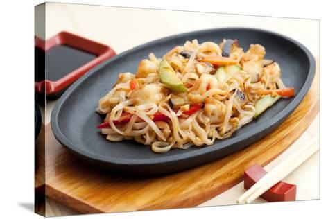Noodles with Seafood. Japanese Cuisine-Gresei-Stretched Canvas Print