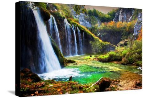 Waterfall in Forest. Crystal Clear Water. Plitvice Lakes, Croatia-Michal Bednarek-Stretched Canvas Print