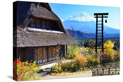 Traditional Japanese Huts near Mt. Fuji, Japan.-SeanPavonePhoto-Stretched Canvas Print