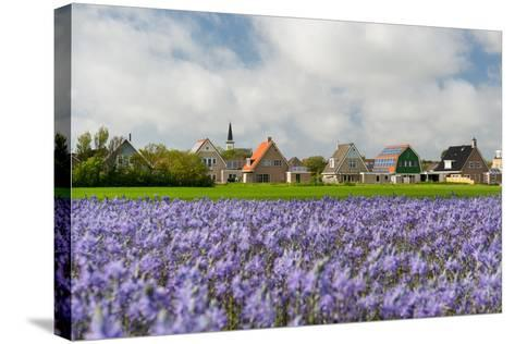 Small Village Den Hoorn with White Church at Dutch Wadden Island Texel-Ivonnewierink-Stretched Canvas Print