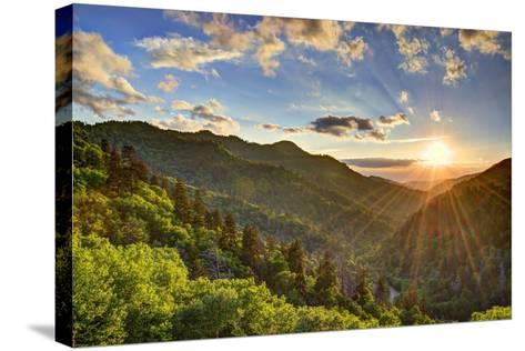 Newfound Gap in the Smoky Mountains near Gatlinburg, Tennessee.-SeanPavonePhoto-Stretched Canvas Print