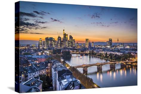 Skyline of Frankfurt, Germany, the Financial Center of the Country.-SeanPavonePhoto-Stretched Canvas Print