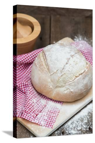 Freshly Baked French Pain De Campagne Loaf of Bread-Veneratio-Stretched Canvas Print