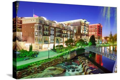 Greenville, South Carolina at Falls Park in Downtown at Night.-SeanPavonePhoto-Stretched Canvas Print