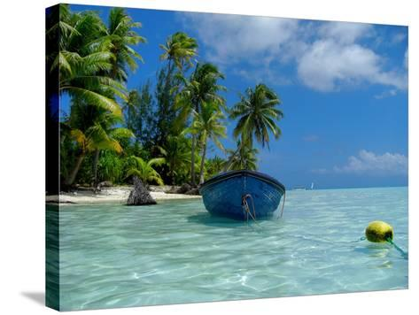Blue Skiff Bora Bora Lagoon-Lawrence Da Luz Photography-Stretched Canvas Print