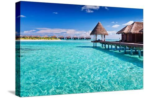 Overwater Spa in Blue Lagoon around Tropical Island-Martin Valigursky-Stretched Canvas Print