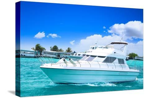 Luxury Yatch in Beautiful Ocean-SurangaWeeratunga-Stretched Canvas Print