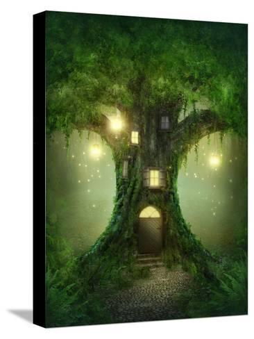Fantasy Tree House in Forest-egal-Stretched Canvas Print