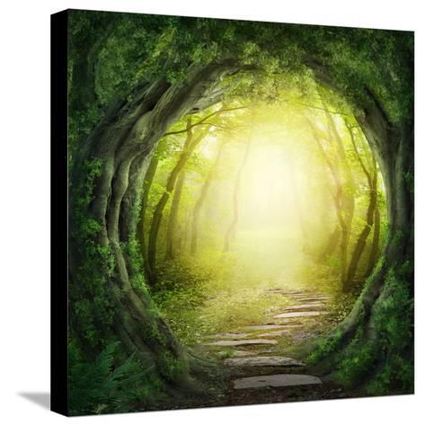 Road in Magic Dark Forest-egal-Stretched Canvas Print