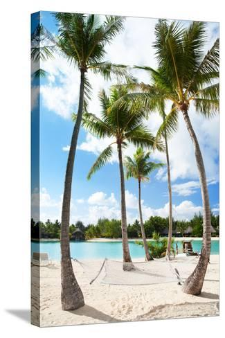 Hammock between Palm Trees at Beach on Bora Bora-BlueOrange Studio-Stretched Canvas Print