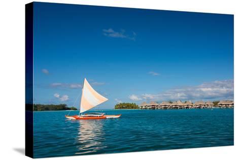 Sunset Sailing at Beautiful Bora Bora Lagoon-BlueOrange Studio-Stretched Canvas Print
