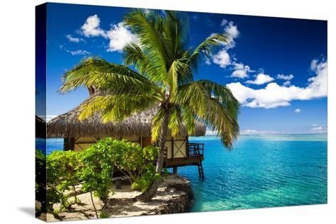 Tropical Bungalow and Palm Tree next to Amazing Blue Lagoon-Martin Valigursky-Stretched Canvas Print