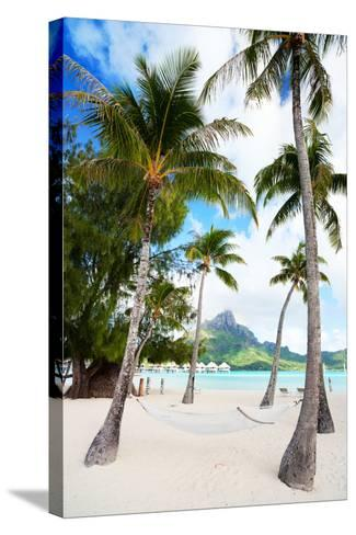 Beautiful Beach with Coconut Palms on Bora Bora Island in French Polynesia-BlueOrange Studio-Stretched Canvas Print