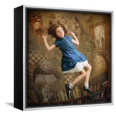 Alice falling down the Rabbit Hole-egal-Framed Canvas Print