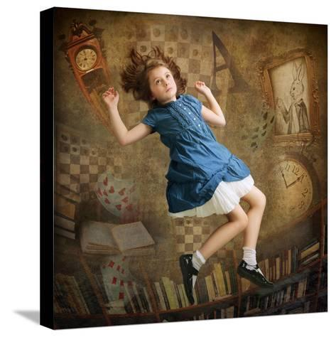 Alice falling down the Rabbit Hole-egal-Stretched Canvas Print