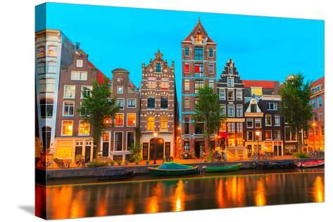 Night City View of Amsterdam Canal Herengracht-kavalenkava volha-Stretched Canvas Print