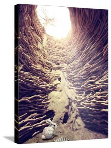 Rabbit and Chess in Deep Hole toward the Sunlight. Creative Concept-viczast-Stretched Canvas Print
