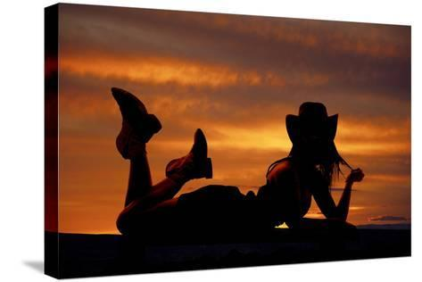 Cowgirl Lay Stomach Silhouette-Alan and Vicena Poulson-Stretched Canvas Print