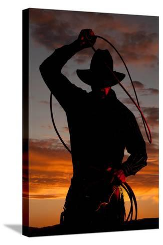 Cowboy in Sunset with Rope-Alan and Vicena Poulson-Stretched Canvas Print