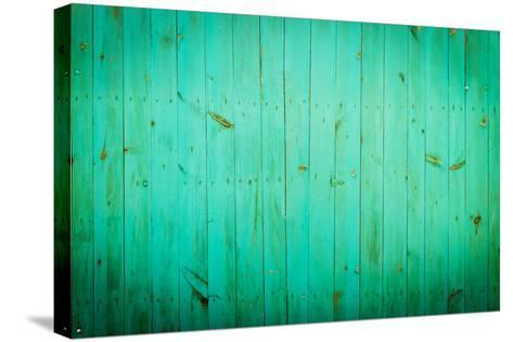 Green Wood Background. Close-Up View of Old Wood Wall Colored in Green.-Madredus-Stretched Canvas Print