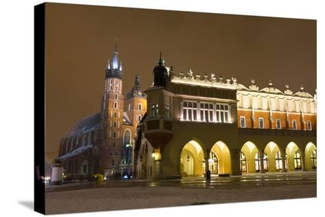 Market Square at Night, Poland, Krakow.-dziewul-Stretched Canvas Print