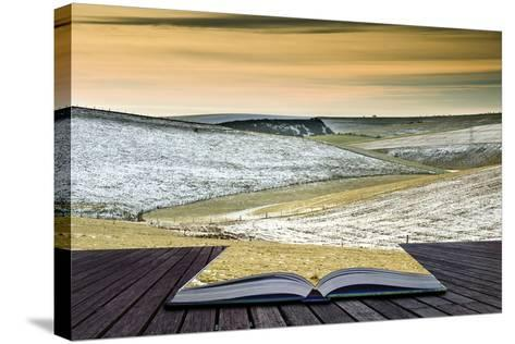 Creative Concept Idea of Winter Landscape Coming out of Pages in Magical Book-Veneratio-Stretched Canvas Print