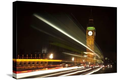 Long Exposure Lights from Traffic Big Ben London at Night-Veneratio-Stretched Canvas Print