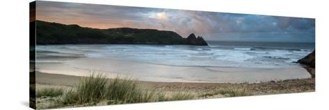 Sunrise Landscape Panorama Three Cliffs Bay in Wales with Dramatic Sky-Veneratio-Stretched Canvas Print