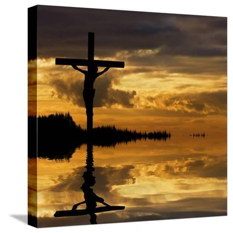 Jesus Christ Crucifixion on Good Friday Silhouette Reflected in Lake Water-Veneratio-Stretched Canvas Print