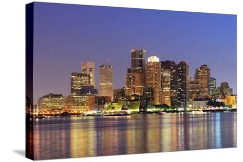 Boston Downtown Skyline Panorama with Skyscrapers over Water with Reflections at Dusk Illuminated W-Songquan Deng-Stretched Canvas Print