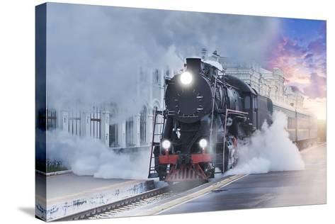 Retro Steam Train.-Breev Sergey-Stretched Canvas Print