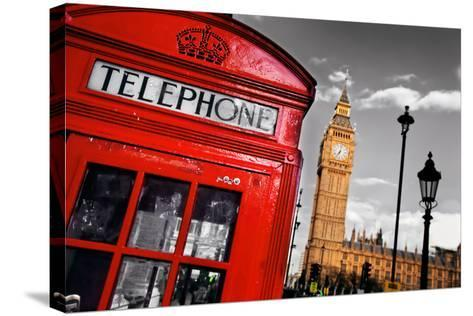 Red Telephone Booth and Big Ben in London, England, the Uk. the Symbols of London on Black on White-Michal Bednarek-Stretched Canvas Print