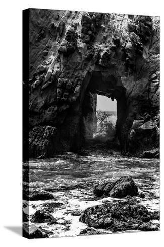 California Pfeiffer Beach in Big Sur State Park Dramatic Black and White Rocks and Waves-holbox-Stretched Canvas Print