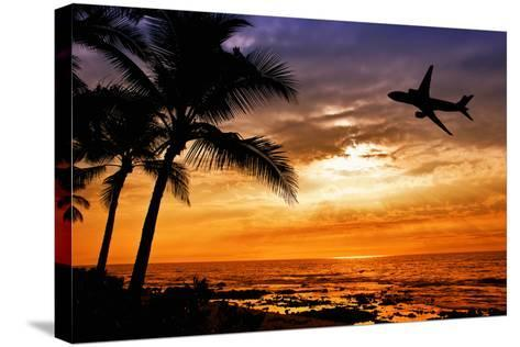Sunset with Palm Tree and Airplane Silhouettes-krisrobin-Stretched Canvas Print