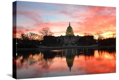 Capitol Building in a Cloudy Sunrise with Mirror Reflection, Washington D.C. United States-Orhan-Stretched Canvas Print
