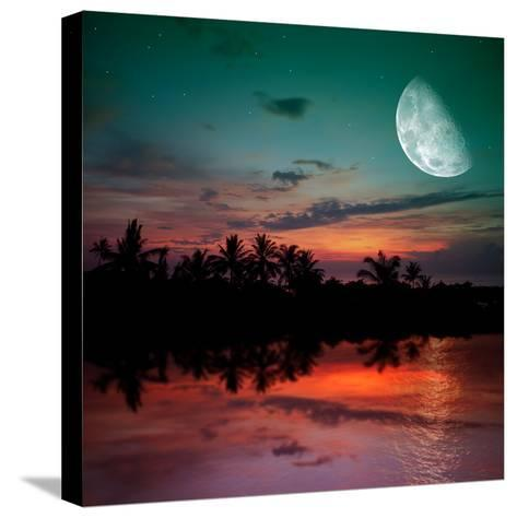 Magical Evening on the Ocean and the Moon-Krivosheev Vitaly-Stretched Canvas Print