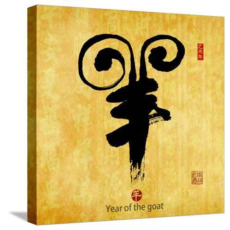 Chinese Calligraphy Mean Year of the Goat 2015,Translation: Good Bless for New Year-kenny001-Stretched Canvas Print