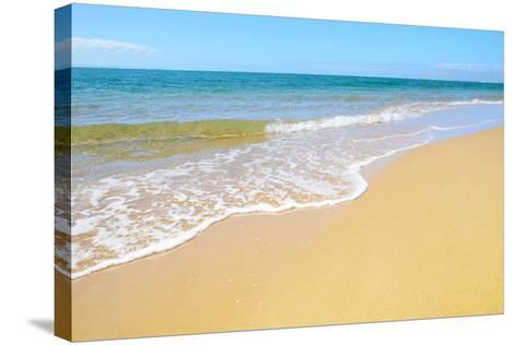 Soft Wave of the Sea on the Sandy Beach-idizimage-Stretched Canvas Print