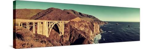 Bixby Bridge Panorama as the Famous Landmark in Big Sur California.-Songquan Deng-Stretched Canvas Print