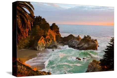 Mcway Falls in Big Sur at Sunset, California-Andy777-Stretched Canvas Print