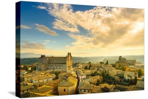 Orvieto Medieval Town and Duomo Cathedral Church Aerial View. Italy-stevanzz-Stretched Canvas Print