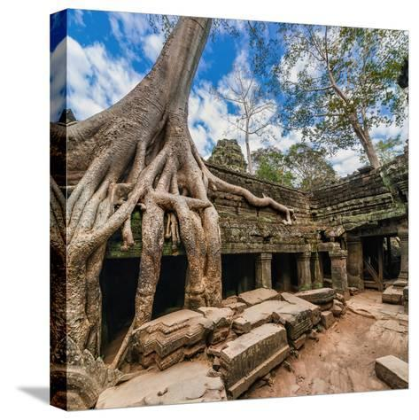 Ancient Khmer Architecture. Ta Prohm Temple with Giant Banyan Tree at Angkor Wat Complex, Siem Reap-Im Perfect Lazybones-Stretched Canvas Print