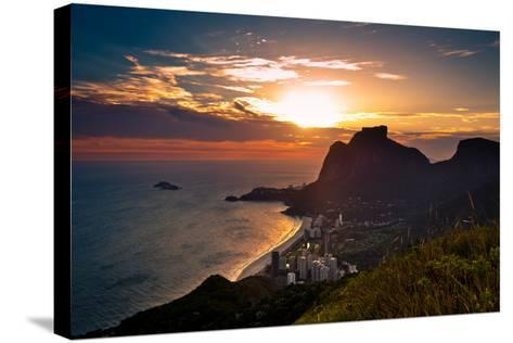 Sunset behind Mountains in Rio De Janeiro-dabldy-Stretched Canvas Print