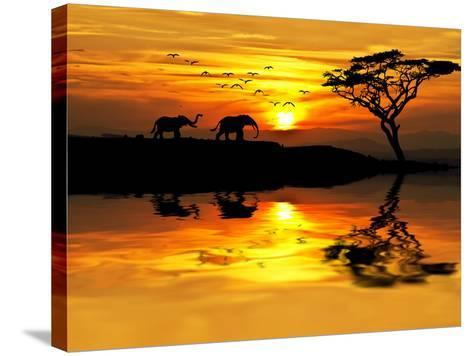 Africa Parading along the Lake-kesipun-Stretched Canvas Print