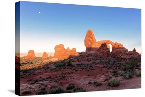 Landscape with Turret Arch in Arches National Park.-lucky-photographer-Stretched Canvas Print
