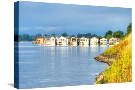 Houseboats-Anton Foltin-Stretched Canvas Print